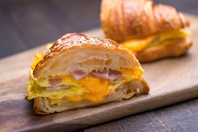 Ham and Cheese Omelette Sandwich